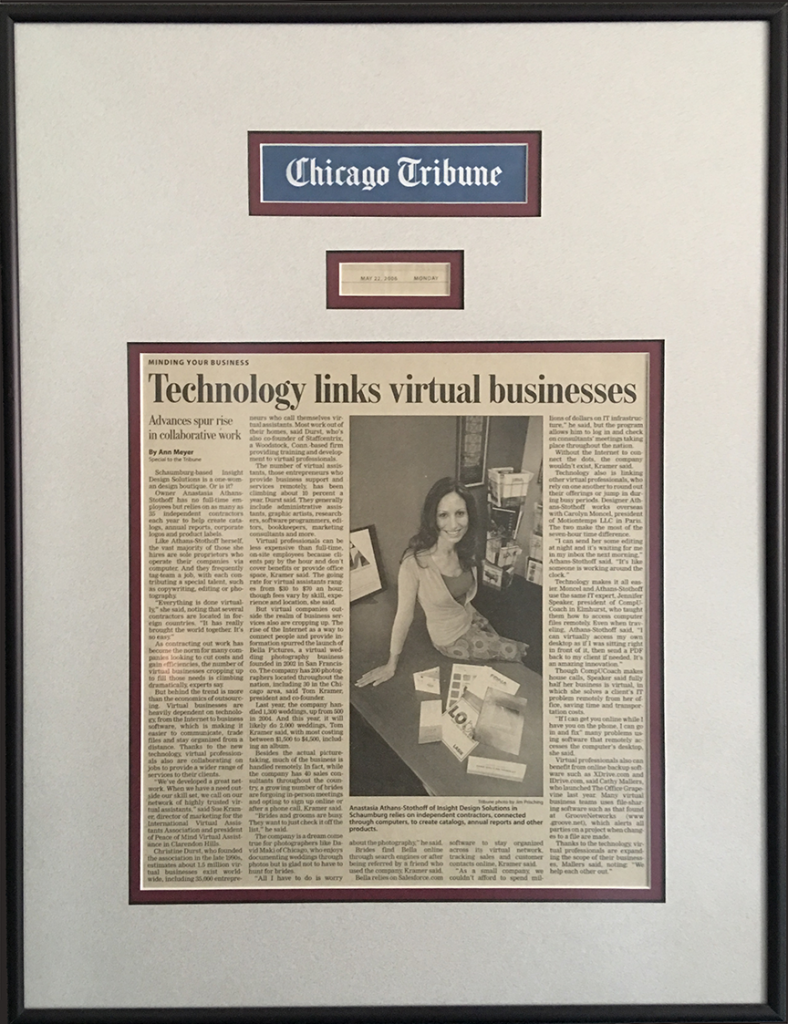 A Chicago Tribune article featuring Insight Design Solutions, Inc. and technological partnerships in business.